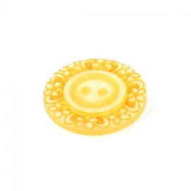 Polyester button, Floral - yellow sunshine