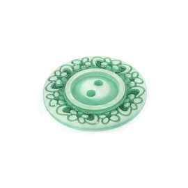 Polyester button, Floral - green