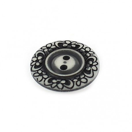 Bouton polyester Floral noir