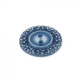 Polyester button, Floral - navy blue