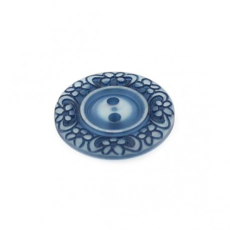 Bouton polyester Floral bleu marine