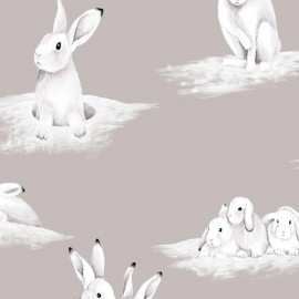 Cotton Canvas Fabric - Lapinoux x 65cm