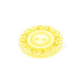 Bouton polyester Floral jaune paille