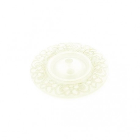 Bouton polyester Floral écru