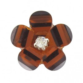 Polyester button, Fantasy Flower with rhinestone - copper brown