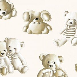 Tissu Percale de coton Teddy  écru x 65cm