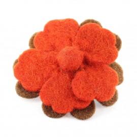 Broche Fleur Laine bouillie Marron / Rouge