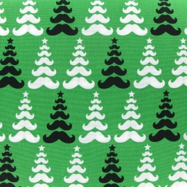 Tissu merry mustaches sapin green x10cm