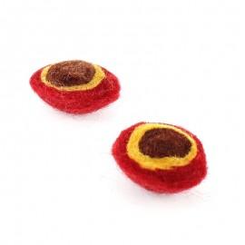 Demi-boule en laine bouillie Rouge / Marron x2
