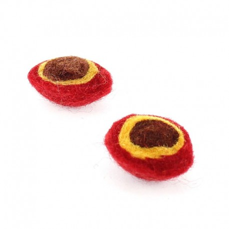 Boiled wool half-ball x2 - red/brown