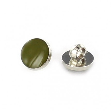 Polyester button, colored pastille - olive green