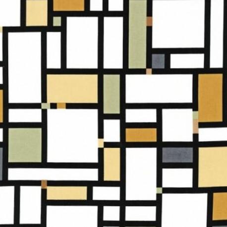 Color composition grand mondrian Fabric - Earth x10cm
