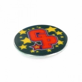 Polyester button, Fantasy GP - green