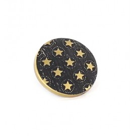 Polyester button with golden stars - black