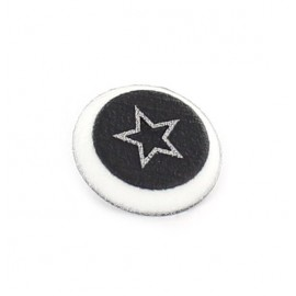 Polyester button, spangled Star - silver
