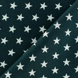 Tissu Noël étoiles argenté fond vert sapin