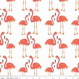 Tissu Lula Flamingo orange x 30cm