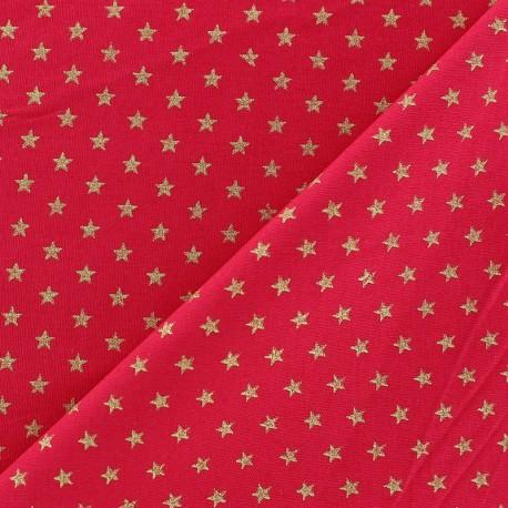 tissus pas cher 100 coton tissu no l petites toiles dor fond rouge. Black Bedroom Furniture Sets. Home Design Ideas