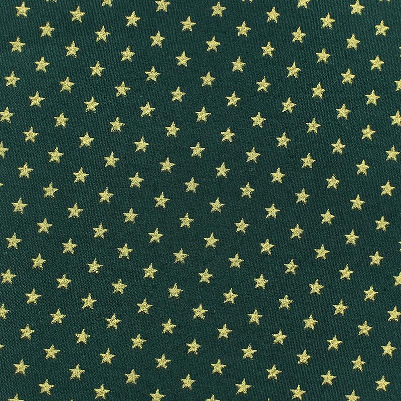 tissu no l petites toiles dor fond vert sapin x 10cm. Black Bedroom Furniture Sets. Home Design Ideas