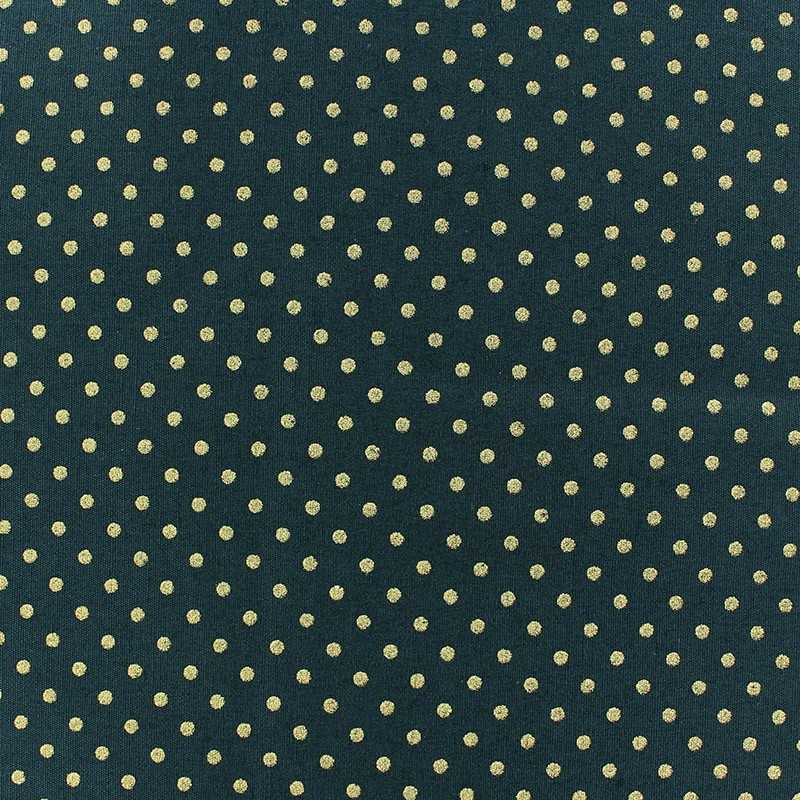 tissus pas cher 100 coton tissu no l petits pois dor fond vert sapin. Black Bedroom Furniture Sets. Home Design Ideas