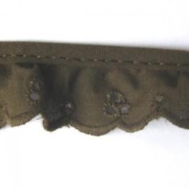Broderie anglaise froncée marron 2.5cm