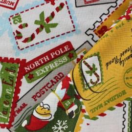 Tissu Noël postcard fond écru x 10cm