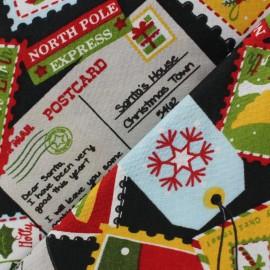 Tissu Noël postcard fond noir x 10cm