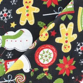 Tissu Noël hohoho fond noir x 10cm