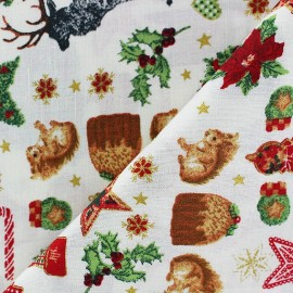 Tissu Noël doré x 10cm