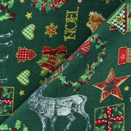 Tissu Noël doré fond vert  x 10cm