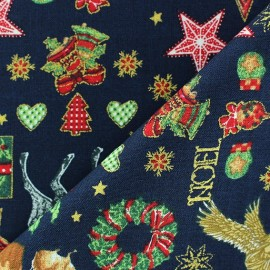 Tissu Noël doré fond marine  x 10cm
