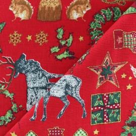 Tissu Noël doré fond rouge  x 10cm