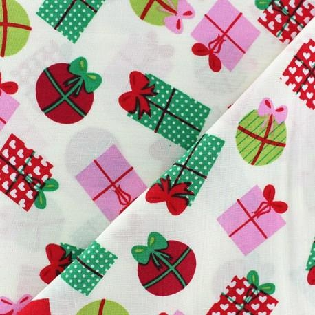 Tissus pas cher 100 coton tissu no l cadeaux boules fond blanc - Tissu noel pas cher ...
