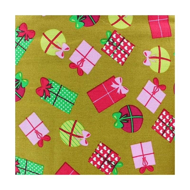 Tissus pas cher 100 coton tissu no l cadeaux boules fond olive - Tissu noel pas cher ...