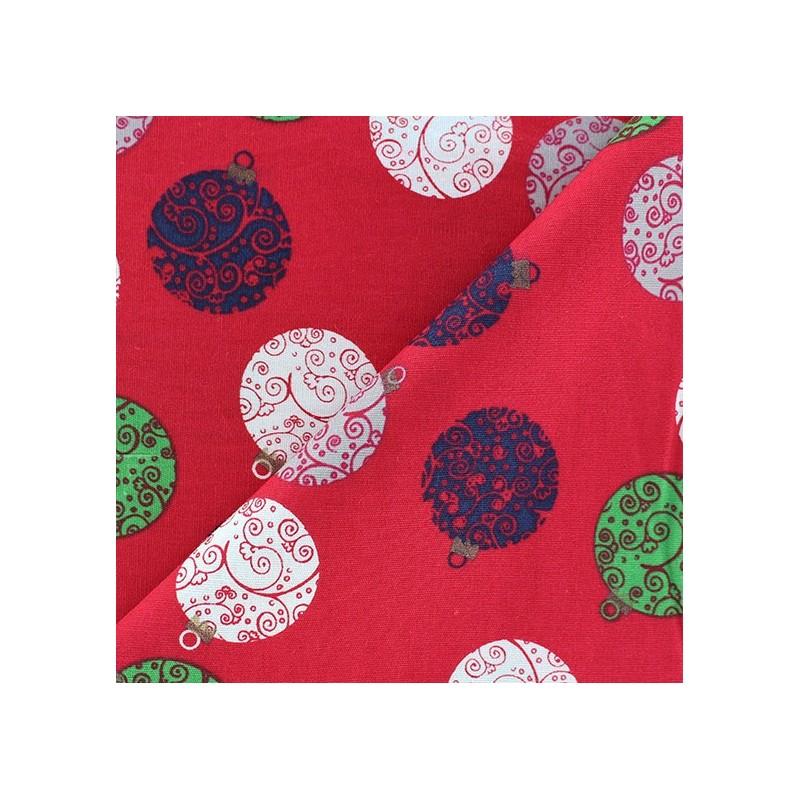 Tissus pas cher 100 coton tissu no l boules arabesques fond rouge - Tissu noel pas cher ...