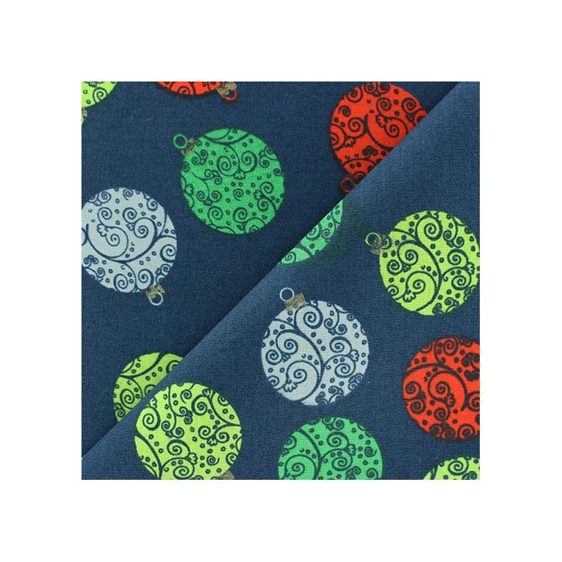 Tissus pas cher 100 coton tissu no l boules arabesques fond bleu marine - Tissu noel pas cher ...