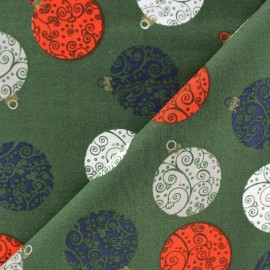 Tissu Noël Boules Arabesques fond bleu marine x 10cm