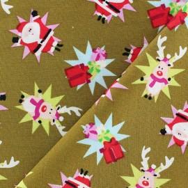 Tissu Noël Renne / Santa Claus fond olive x 10cm