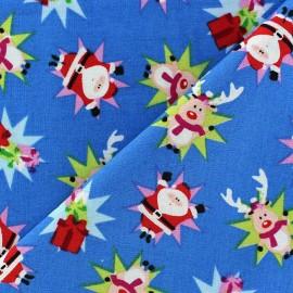 Tissu Noël Renne / Santa Claus fond bleu azur x 10cm