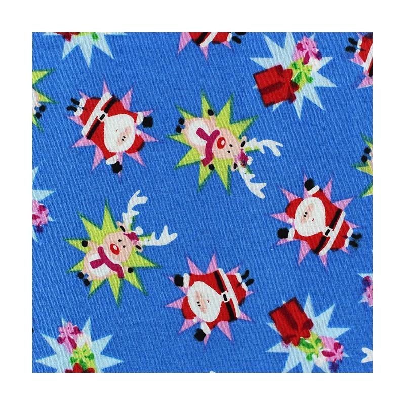 tissus pas cher 100 coton tissu no l renne santa claus fond bleu azur. Black Bedroom Furniture Sets. Home Design Ideas