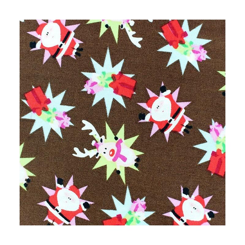 tissus pas cher 100 coton tissu no l renne santa claus fond chocolat. Black Bedroom Furniture Sets. Home Design Ideas