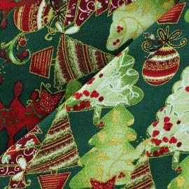 Tissu Noël Sapins fond écru x 10cm
