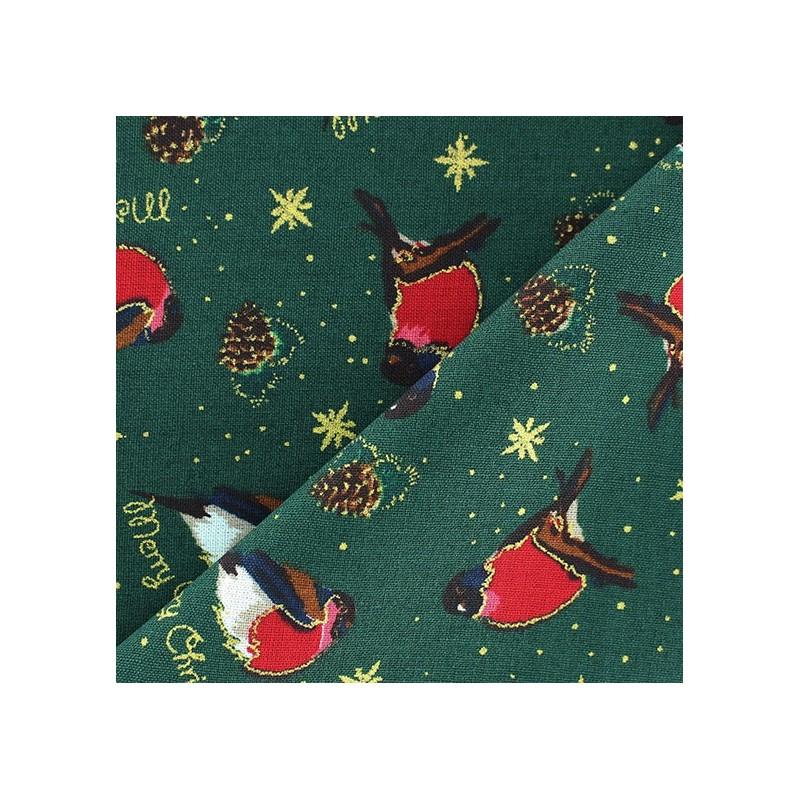 tissus pas cher 100 coton tissu no l rouge gorge fond vert. Black Bedroom Furniture Sets. Home Design Ideas