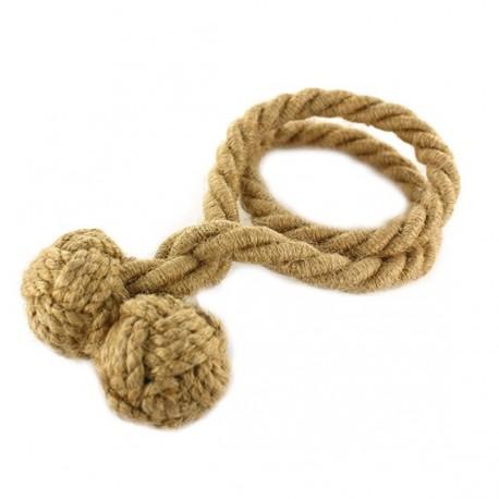 Rope curtain tieback - jute