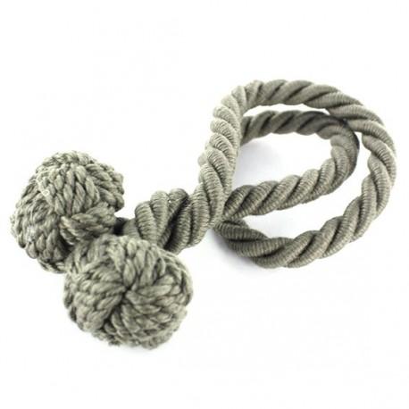 Rope curtain tieback - elephant gray