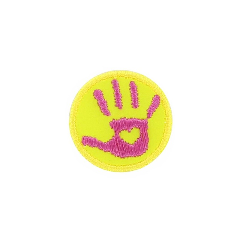 Hand ironon applique  fluorescent pinkyellow  Ma