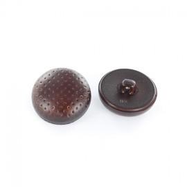 Bouton polyester piqué imitation cuir marron