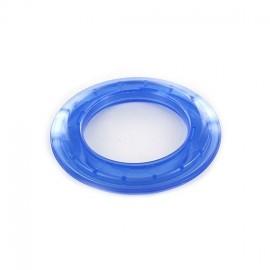 Oeillet à clipper plastique 40 mm translucide bleu