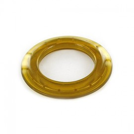 Plastic eyelet to clip 40 mm translucent - amber