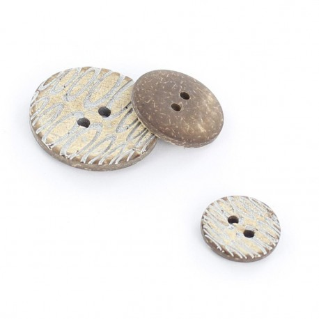 Coconut button, engraved - silver